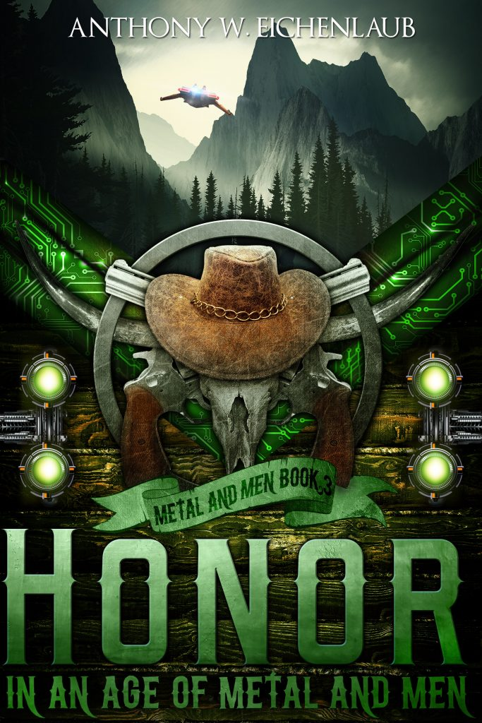 Green Skull and Guns cover for Honor in an Age of Metal and Men