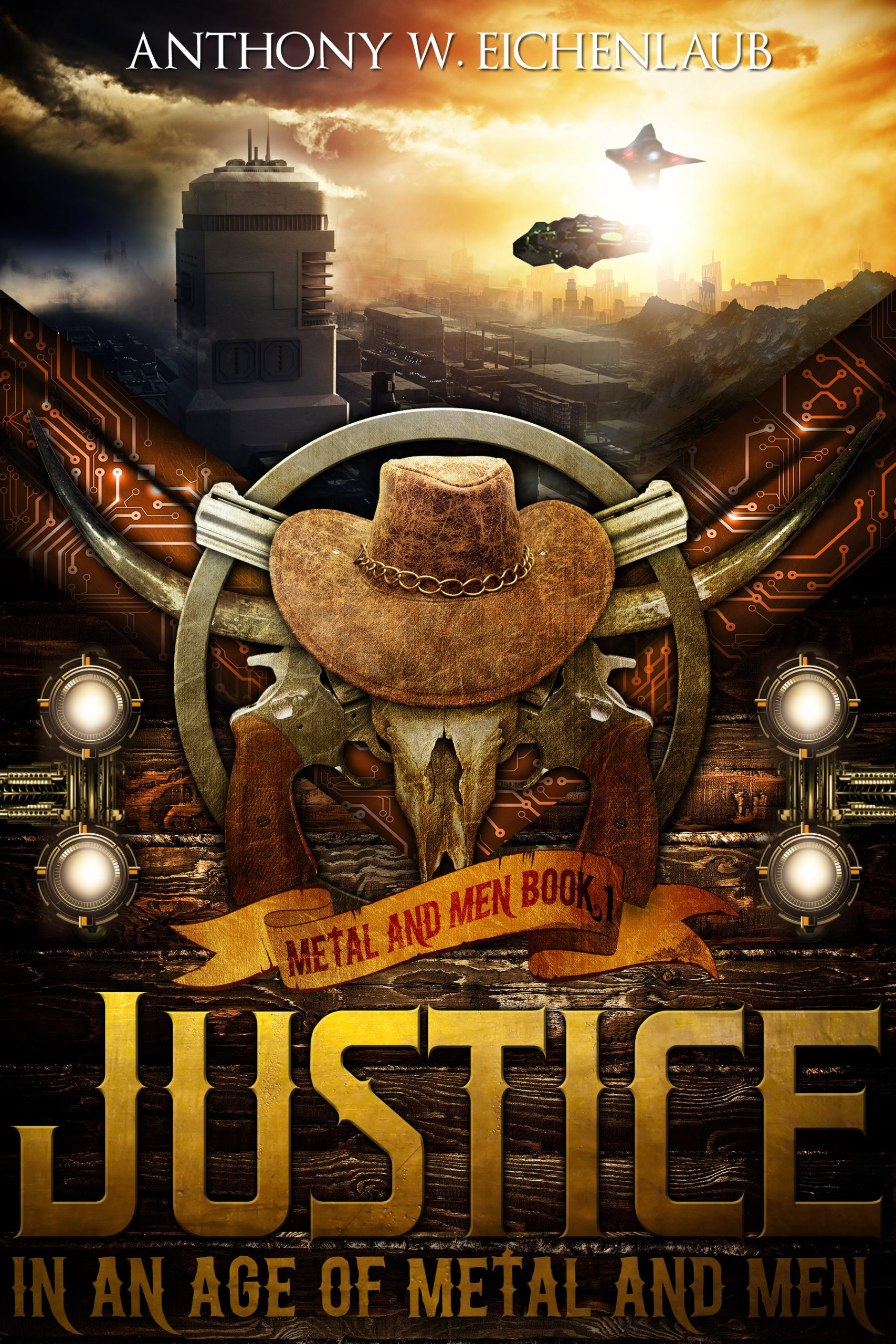 Skull in cowboy hat, guns, and scifi background